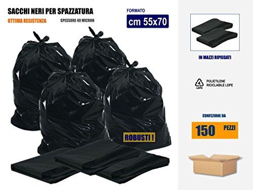 SACCHI PLASTICA NERI - SPAZZATURA RACCOLTA RIFIUTI | Cm 55x65 (55 litri) IN POLIETILENE LDPE | SCATOLE DA 150 SACCHETTI