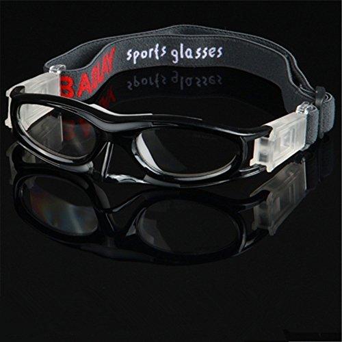 EnzoDate Flexible Kinder-Basketball-Schutzbrillen für jungen Mädchen, Kinder Sport Brille, Fußball Brille, Fahrrad Brille, Volleyball Auge Schutzrahmen (Schwarz)