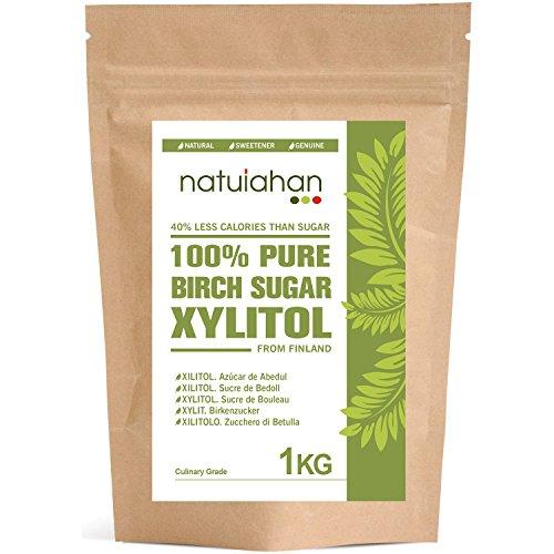 Xilitolo Natuiahan 1KG. Zucchero di Betulla Finlandese. Edulcorante 100% Naturale. Confezione Ermetica a Incastro