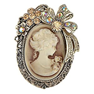 Alilang Old Style Kristall Strass Cameo Maiden Flower Ribbon Schleife Pin Brosche