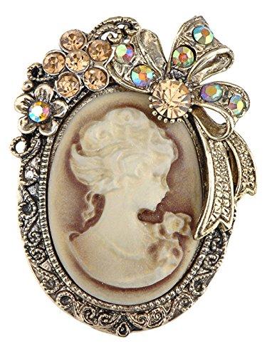 Old Style Kristall Strass Cameo Maiden Flower Ribbon Schleife Pin Brosche (Cameo-pins Und Broschen)
