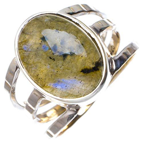 925er Sterling Silber Labradorite Einzigartig Handgefertigt Ringe 16 3/4 Blue B1054
