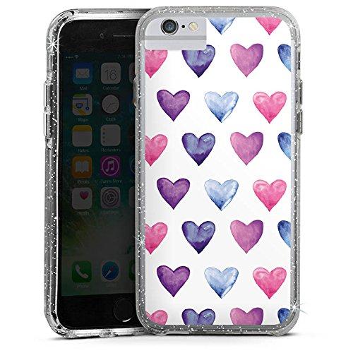 Apple iPhone 8 Bumper Hülle Bumper Case Glitzer Hülle Heart Herz Pattern Bumper Case Glitzer silber