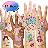 Konsait Meerjungfrauen Temporäre Tattoos Kinder Tattoos Set für Kinder Gastgeschenke Mädchen deko Kindergeburtstag Mitgebsel, 14 Blatt