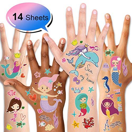 en Temporäre Tattoos Kinder Tattoos Set für Kinder Gastgeschenke Mädchen deko Kindergeburtstag Mitgebsel, 14 Blatt ()