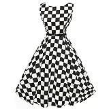 OVERDOSE Damen 50s Retro Schwingen Vintage Rockabilly Kleid Faltenrock Partykleider Cocktailkleider (A-Schwarz,EU-40/CN-XL)
