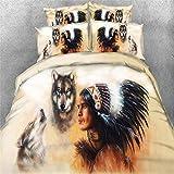 Indianer und Wölfe und Golden Dragon Bettwäsche Set,Superweiche Polyester-Baumwolle,3-teilig (1 Bettbezug + 2 Kissenbezüge 48x74cm) (Indianer und Wölfe, King Size(220x240CM 2M Breites Bett))