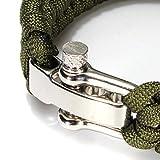 SSforiesun Paracord braccialetto di sopravvivenza del tessuto a mano 7-stand arco in acciaio INOX fibbia nero, Green, 1B