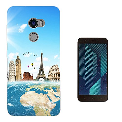 002973 - Travel World Map London America Paris Italy Rome Design HTC One X10 LTE-A (HTC E66) Fashion Trend Silikon Hülle Schutzhülle Schutzcase Gel Rubber Silicone Hülle