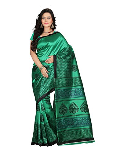 e-VASTRAM Women\'s Art Mysore Printed Silk(NS2D_Green)