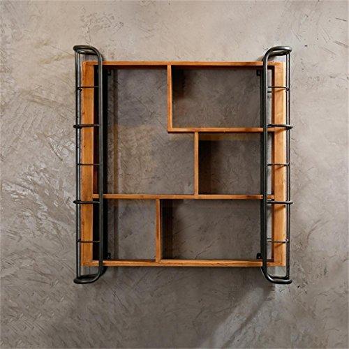 Trre@ soppalco industriale retro scaffale in legno solido design bar mensola cafe mensola decorativa 84 * 15 * 90.5cm mensole da muro