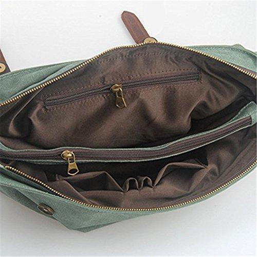 Umhängetasche Laptoptasche 15,6 Zoll Aktentasche aus Canvas Leder Grün Groß-Grün