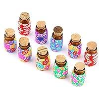 Erduo Botellas de Arcilla polimérica de Vidrio Mini portátil de 10 Piezas Los frascos con Tapones