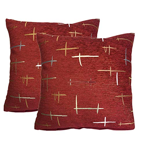 QCTIANXIA 2 Stück Chenille Home Dekorative Sofa Plaid Überwurf-Kissenbezüge, Auto Kissen, Erkerfenster, Ornament Überwurfkissen, Home Sofa Kissen, quadratisch 18X18 rot -