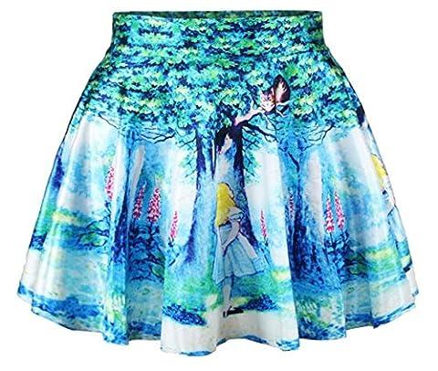 Women Girls Casual High Waist Stretch Waist Flared Pleated Mini Skirt Forest