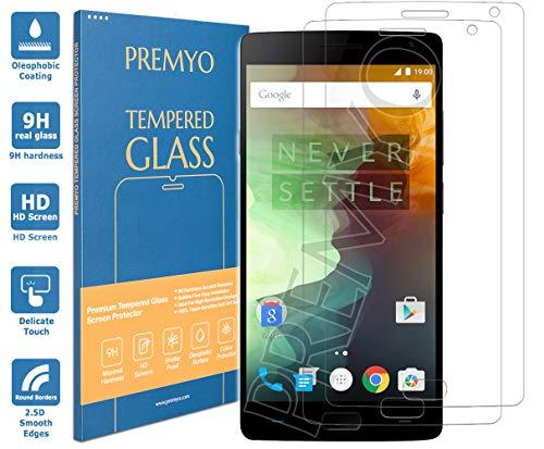 PREMYO 2 Stück Panzerglas Schutzglas Bildschirmschutzfolie Folie kompatibel für OnePlus 2 Blasenfrei HD-Klar 9H 2,5D Gegen Kratzer Fingerabdrücke