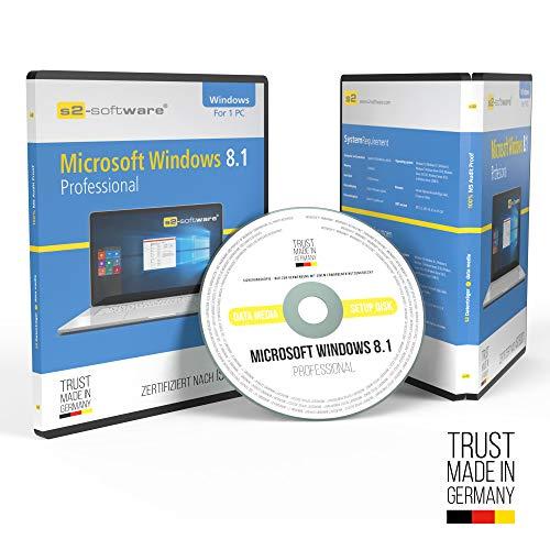 Microsoft® Windows 8.1 Professional (Pro). Original-Lizenz. 64 Bit. Deutsch. Audit Sicher, S2-ISO DVD, Lizenz. CLP Zertifikat
