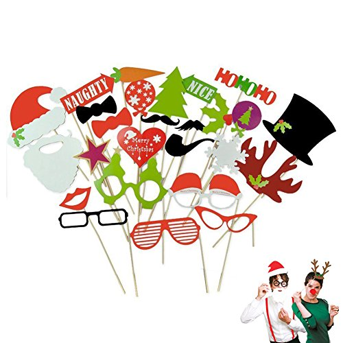 27pcs DIY Christmas Photo Booth Props Kit Hat Glasses Mustache Tree Mouth Snowflakes Paper Lips on a Sticks for Wedding