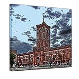 Kunstdruck - Rotes Rathaus - Bild auf Leinwand 40 x 40 cm - Leinwandbilder - Bilder als Leinwanddruck - Wandbild von Bilderdepot24 - Städte & Kulturen - Architektur - Europa - Deutschland - Rathaus von Berlin