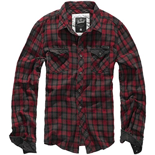 Brandit -  Camicia Casual  - con bottoni - A quadri - Con bottoni  - Maniche lunghe  - Uomo Red-Brown Medium