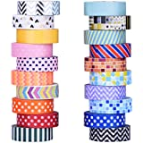 Mudder 20 Rollos de Washi Cintas Decorativas de Colores Washi Cinta de Enmascarar para Artesanías,Scrapbooks, DIY de Bricolajes y Suministros de Oficina y Fiesta de Envolver de Regalo