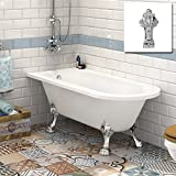 Small Traditional Back To Wall Roll Top Corner Bathtub Designer Acrylic Bath Dragon Feet