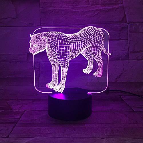 Animal Panther 7 Colores Cambian Lámpara De Noche Led 3D Mesa De Luz Para El Dormitorio Lámpara De Dormir Decoración Para El Hogar Arte Decoración Amigo Regalo Interruptor Táctil Arte-dekor