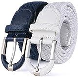 Marino Woven Stretch Belt for Men and Women - Webbed Fabric Belt - Braided Elastic Belt - Navy / White - X-Large