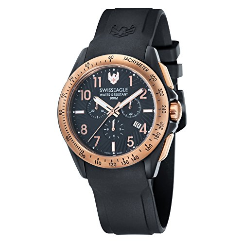 Swiss Eagle Men's Chronograph Tactical Field Quartz Watch with Black Dial Analogue Display and Black Silicone Strap SE-9061-05