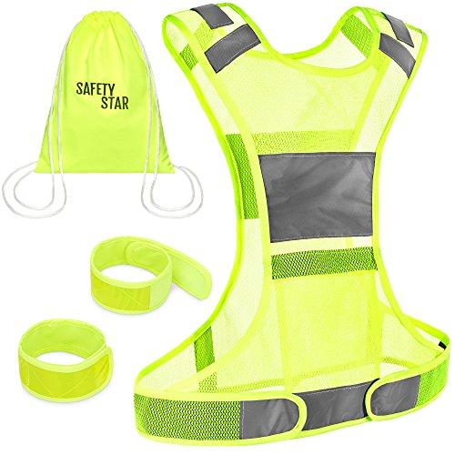 SAFETY STAR | Universal Größe Warnweste mit Tasche & 2x Reflektorband inkl. Beutel | Sicherheitsweste mit Reflektoren für Joggen, Fahrrad, Reiten, Jagen & Auto | Neon Gelb