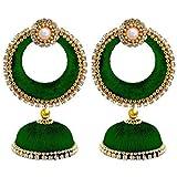 GOELX Women's Silk Thread Jhumki Earring Jhumki Set (Green)
