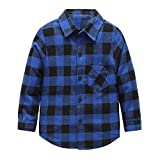 Grandwish Jungen Kariertes Hemd Langarm-Shirts für Mädchen Blau Schwarz Gr.140