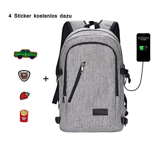 Rucksack mit USB Anschluss, Canvas Schultasche Daypack 17 Zoll Laptop für Business Uni Arbeit Grau von Chocoman