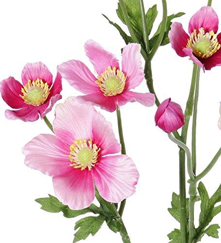 artplants Set 3 x Künstliche Anemone FURONA, 8 Blüten, rosa, 55 cm, Ø 3-5 cm – Deko Windröschen/Kunstblume