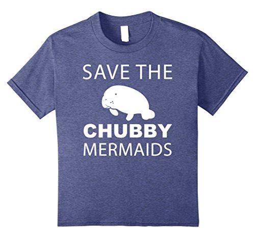 Women's Save The Chubby Mermaids Manatees Apparel T-Shirt Kinder, Größe 128 Heather (Kostüm Kind Orca)