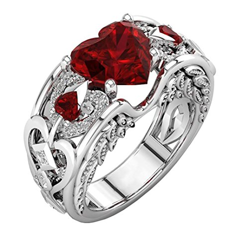 Vovotrade® 1PC Natural Ruby Gemstones Birthstone Finger Ring, Bride Wedding Engagement Heart Ring Jewelry (Red, M)