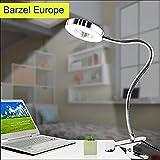 LED Klemmleuchte Bett Leselampe Buch Kinder Schwanenhals Lampe Klemmspot 6W Silber mit 2 Helligkeitsstufen: Kaltweiß und Warmweiß