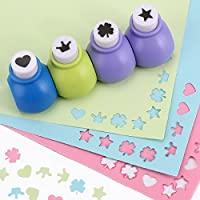 CLE DE TOUS - 4pcs Artesanía de perforadora para Decoración Álbum de Fotos Cortar Figura Papel (dibujos diferentes : corazón, corona, estrella, hoja)