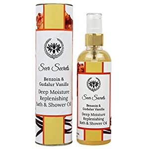Seer Secrets Benzoin and Gudalur Vanilla Tea Deep Moisture Replenishing Bath & Shower Oil │Lotion Replacement │No Mineral Oil │100% Natural(100 ML)