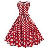 50er Vintage Kleider, Loveso ❤️ Damen Vintage Polka Dots A-Linie Ohne Arm Rockabilly Kleid Cocktailkleider Swing Kleider 1950er Retro Sommerkleid (Wassermelonenrot(Mit Mesh)❤️, S)