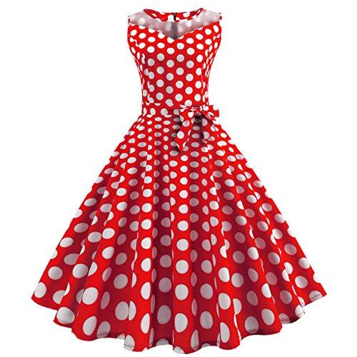 (50er Vintage Kleider, Loveso ❤️ Damen Vintage Polka Dots A-linie Ohne Arm Rockabilly Kleid Cocktailkleider Swing Kleider 1950er Retro Sommerkleid (Wassermelonenrot(Mit Mesh)❤️, XL))