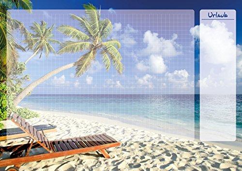 Schreibtischunterlage Papier Urlaub mit transparenter Schutzkante/60x42cm Block mit 25...