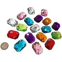 Piedras de coser brillantes acrílicas de Crystal King; multicolores, 40 mm de diámetro, forma octogonal,