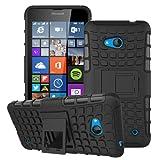 Outdoor Hybrid Case Microsoft Lumia 640 Schwarz Panzer Tasche Cover Silikon Hard Hülle SCHUTZ Schutzhülle Bumper +Gratis Displayschutzfolie