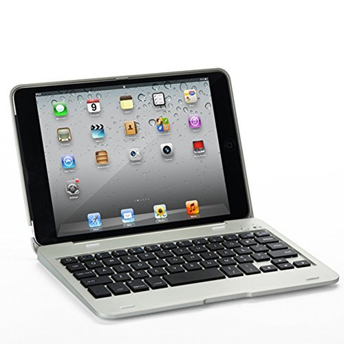 Eoso Ultra Slim Portable Wireless Bluetooth Clamshell Keyboard Folio Case for 7.9 inch Apple iPad mini 3 2014 Version / mini 2 Retina Display - Aluminum Alloy Keypad Carrying Flip Cover (Silver)  available at amazon for Rs.4273
