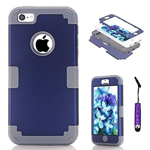 Moonmini Apple iPhone 5c Coque, reg; Ultra Mince Protection Antichoc Combo Goutte Protection Case Coque Housse Etui pour Apple iPhone 5c, Bleu Gris +