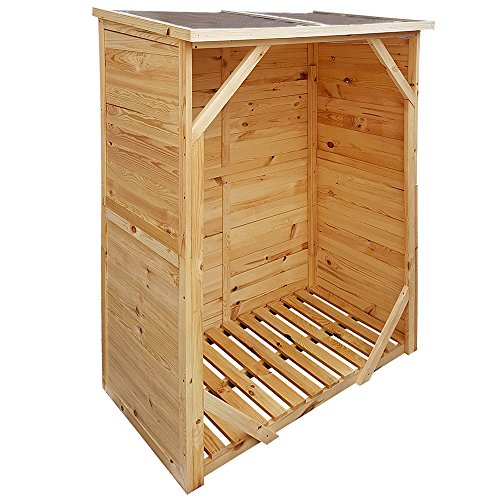 proheim Kaminholzregal XXL 162 x 128 x 72 cm mit Rückwand Brennholzregal mit 1,15m³ Volumen Kaminholzunterstand Bitumen beschichtetes Dach und 100{26f2ce3dbd94e79f53cd74e454971d97834d1ad547a60102847c06b7c4db78e8} FSC Holz, Farbe:Natur