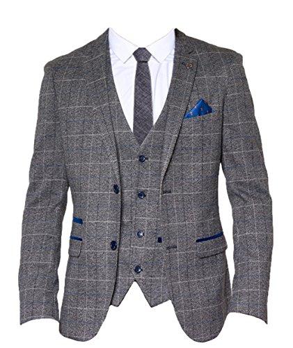 Marc Darcy hommes Vintage à carreaux blazer - Scott gris - Gris 98bc405aa1f