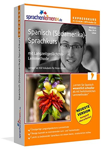 Preisvergleich Produktbild Spanisch (Südamerika)-Expresskurs mit Langzeitgedächtnis-Lernmethode von Sprachenlernen24: Fit für die Reise nach Südamerika. PC CD-ROM + MP3-Audio-CD für Windows 10,8,7,Vista,XP/Linux/Mac OS X
