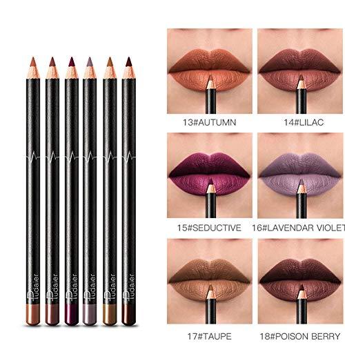 Allouli 6 Colors Lip Liner Set 6 Pcs Lip Contour Pencil Waterproof Makeup Matte Lipstick Pen Long Lasting -